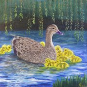 Mother Duck and Ducklings by Isobel Cherry